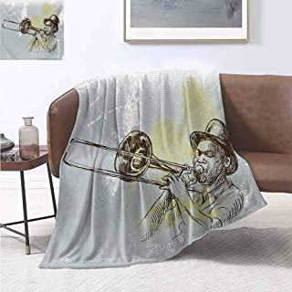 jecycleus Jazz Music Commercial Grade Printed Blanket Trumpet Player Illustration Rock and Roll Party Classic Artful Design Queen King W54 by L72 Inch Gray Yellow Black