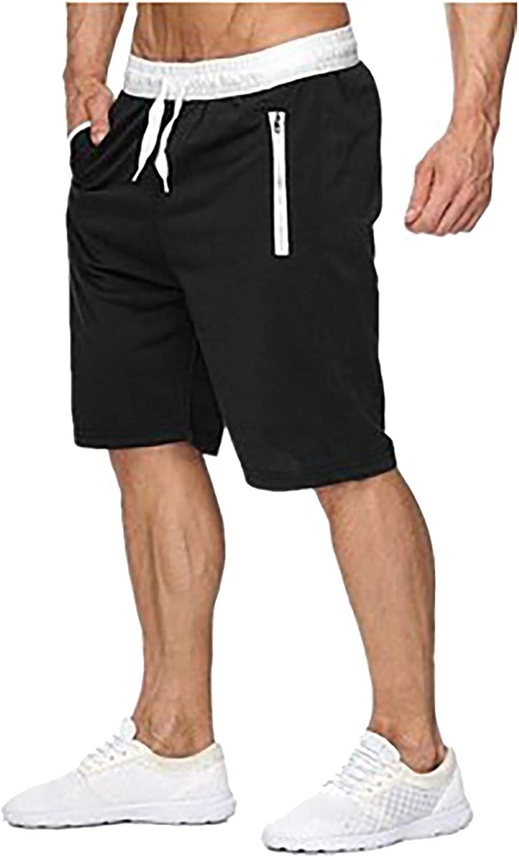 XUNFUN Men's Casual Shorts Drawstring Elastic Waist Workout Comfy Loose Shorts Big and Tall Summer Beach Swim Shorts