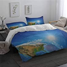 Duvet Cover Size 3 Piece Earth United States View in Space Rising Sun Over The Earth and Its Landforms Bedding Set for Men, Women, Boys and Girls Blue Green Pale BrownTwin