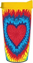 product image for Smile Drinkware USA-TIE DYE HEART WRAP 16oz Tritan Insulated Tumbler With Lid and Straw