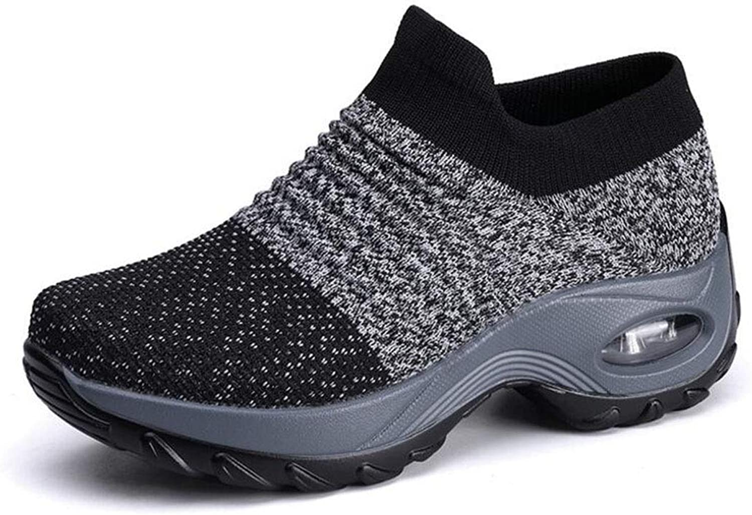 Women's Walking shoes Leather Anti-Slip Anti-Collision Water-Resistant shoes Outdoor Sports shoes Trainers Air Cushion Slip-on Lightweight Running shoes (color   Black, Size   36)