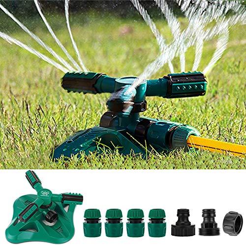 WISDOMWELL Garden Sprinkler Adjustable water spray range Suitable for large areas of lawn Automatic 360 Degree 3 Arm Rotating Sprinkler System Sprinklers (1Sprinkler and 6Connectors)