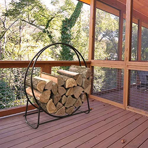 VMARI ❀USA in Stock❀ Circle Metal Firewood Pipe Storage Rack 40' Heavy Log Hoop Holder Firewood Bracket for Fireplace Outdoor Indoor Fire Pit