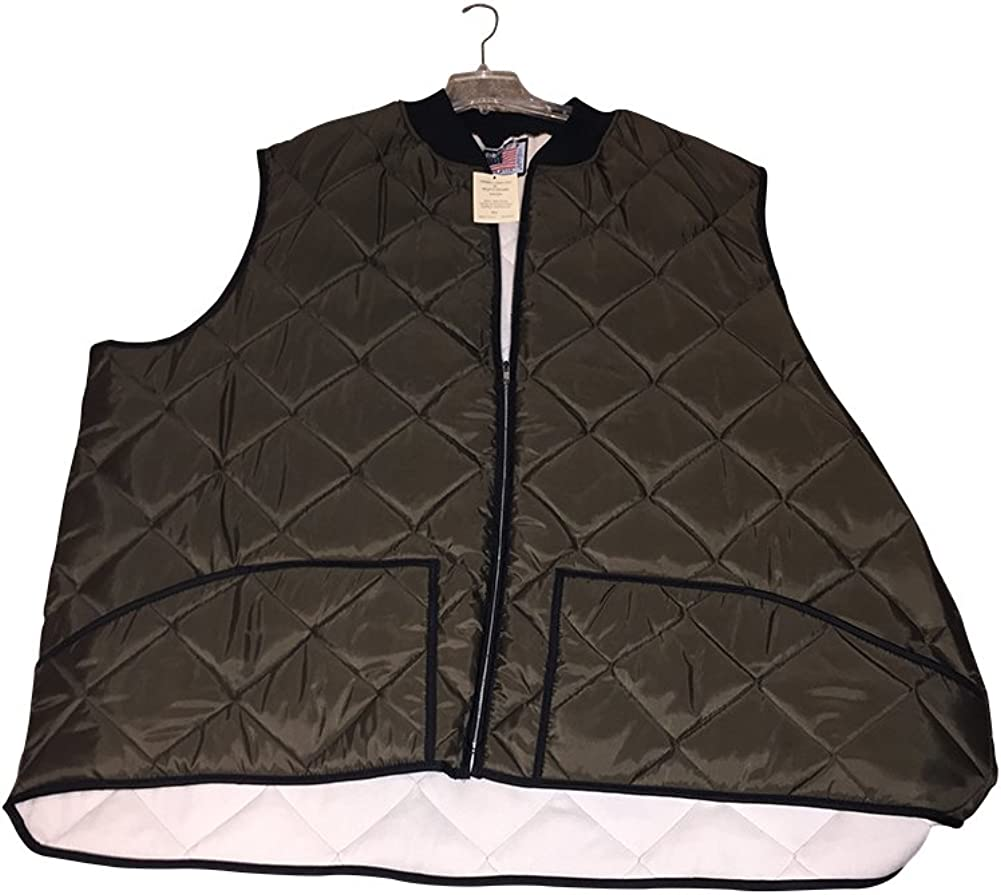 8X Extra Big Brown Thermal Lined Quilted Holofill Vest Big and Tall USA Made 8XB