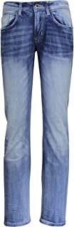Buffalo David Bitton Men's King Slim Boot Cut Fashion Jean in A Contrasted Light Blue Wash