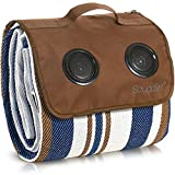 Scuddles Extra Large Picnic & Outdoor Blanket with Bluetooth Speakers Dual Layers for Outdoor Water-Resistant Handy Mat Tote Spring Summer Blue and White Striped Great for The Beach, Camping on Grass