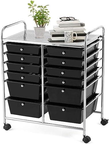 wholesale Giantex 12 Drawer online Rolling Storage Cart discount Tools Scrapbook Paper Office School Organizer (Black) online sale