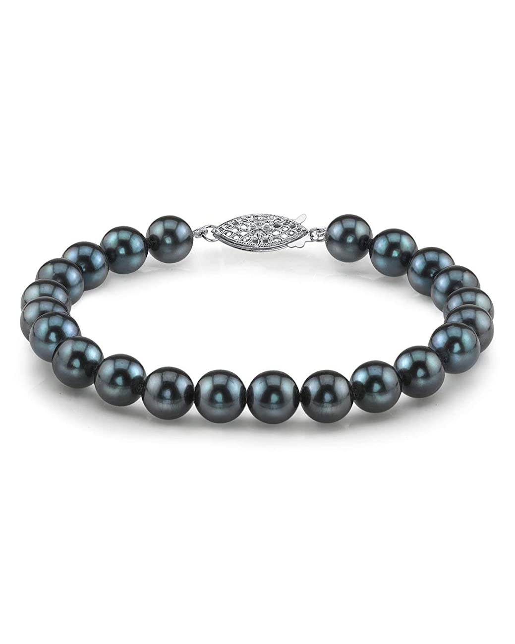 THE PEARL SOURCE 14K Gold 8-8.5mm AAA Quality Round Black Japanese Akoya Saltwater Cultured Pearl Bracelet for Women