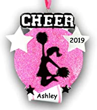Personalized Cheerleader Christmas Ornament for Cheerleading Cheer Girl Featuring Megaphone and Pom Poms on Pink Glitter - Your Choice of Name and Year