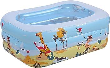 Piscina hinchable, pequeña piscina hinchable al aire libre para bebés, niños, adultos, niños pequeños en interiores y exteriores, jardín, piscina hinchable de tres capas (130 x 90 x 50 cm)