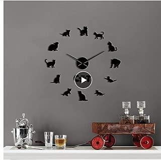 xtmyz Relojes de Pared Bricolaje Domesticado Egipcio MAU Cat Contemporáneo DIY Reloj de Pared Gatito Raza Animal Espejo Superficie Acrílico Reloj Tienda de Mascotas Decoración