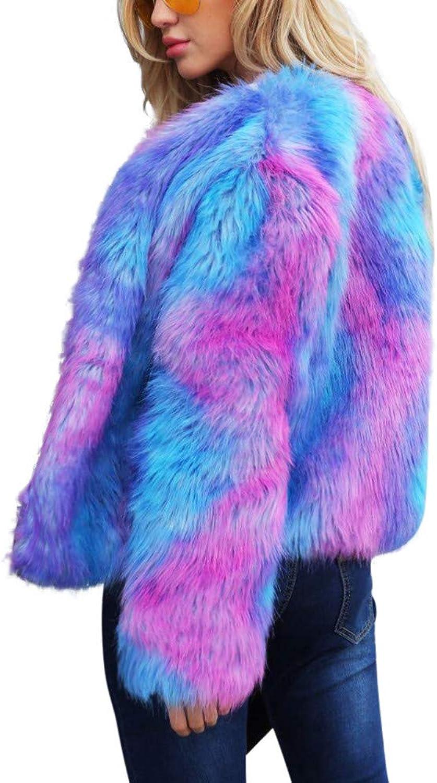 Women's Ladies Warm Faux Fur Coat Jacket Winter Gradient color Parka Outerwear Cloth (color   blueee, Size   M)