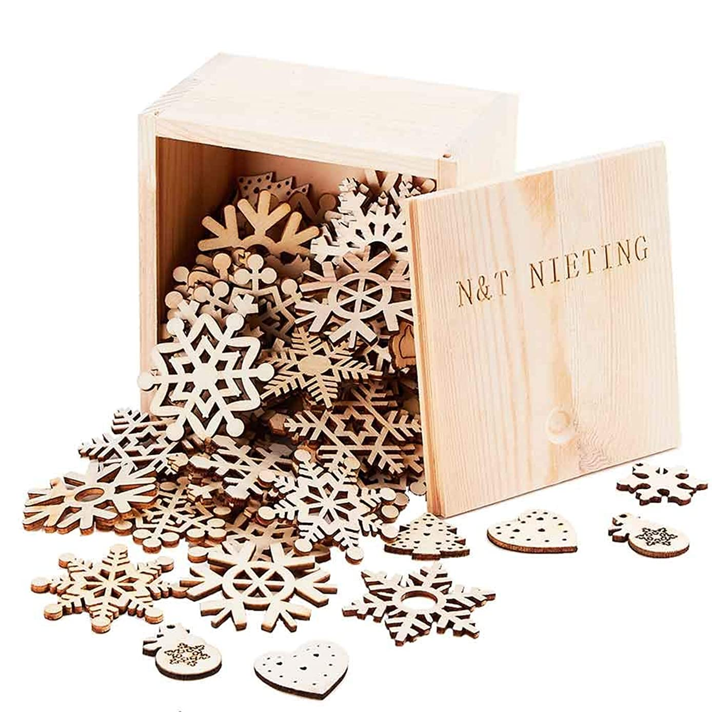 N&T NIETING 50pcs Snowflake + 50pcs DIY Unfinished Wooden Cutouts Christmas Ornaments for Kids Tree Decoration Christmas Craft Decoration with Gift Box