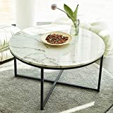 VONLUCE 36 Inch Modern Round Coffee Table with Faux...