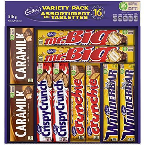 chocolate bars Cadbury 16 Full size Chocolate Bars Variety Pack - Wunderbar, Caramilk, Mr.Big, Crunchie, Crispy Crunch 816 g