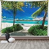 Lunarable Strand-Tapisserie King Size, Hängematte & Palmen an einem tropischen Strandlandschaft, sonniger Sommer, Wandbehang, Tagesdecke, Wanddekoration, 264,2 x 223,5 cm, Ozeanblau