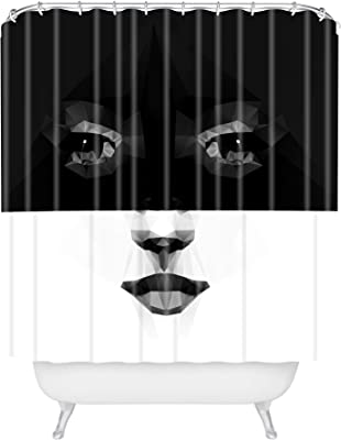 """Deny Designs Three of The Possessed Luna Shower Curtain, 72"""" x 69"""", Black & White"""