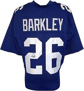 Saquon Barkley Signed Custom Blue Pro-Style Football Jersey JSA Signature Debut