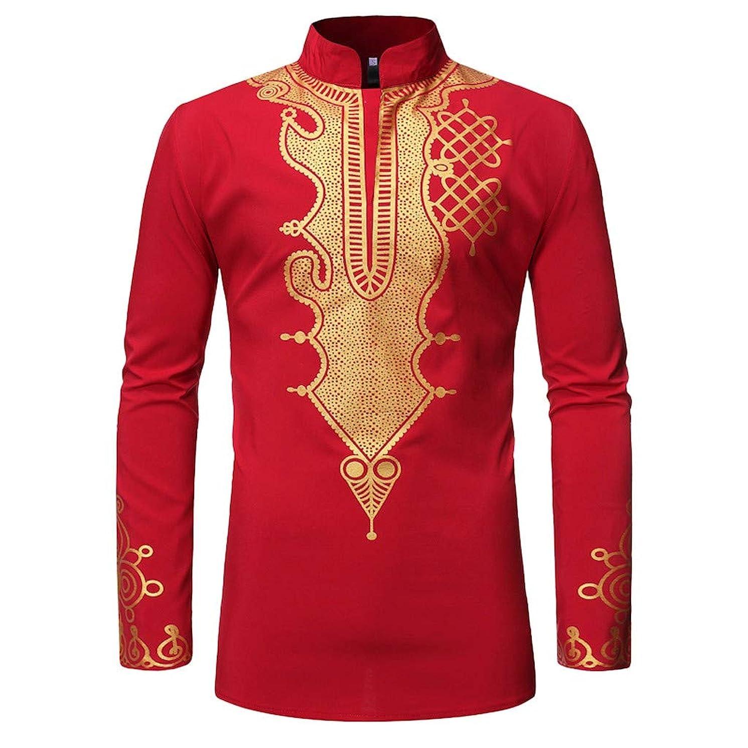 JJLIKER Mens African Tribal Clothing Printed Floral Henley Shirt Slim Fit Dashiki Tees Long Sleeve Casual Tops Black