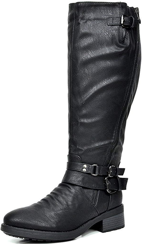 DREAM PAIRS Women's Atlanta Black Fur Lined Knee High Riding Boots Wide Calf Size 7.5 M US