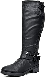 DREAM PAIRS Women's Atlanta Black Fur Lined Knee High Riding Boots Wide Calf Size 8 M US