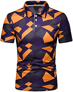 LUKEEXIN Men's Camouflage Printed Lapel Short-sleeved Polo Shirt