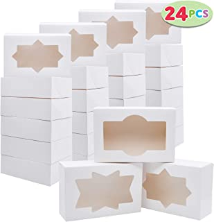 24 PCs Christmas Cookie Bakery Treat Box Set with Window (8.75'' x 5.75'' x 2.75'') for Pastries, Cupcakes, Cookies, Brownies, Donuts Gift-Giving