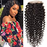 Unice Hair Malaysian Curly hair 4x4 Lace Closure Free Part, 100% Unprocessed Human Virgin Hair Natural Color (12inch)