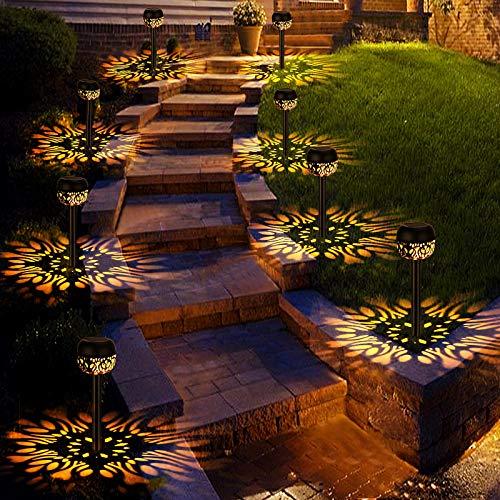 Lámpara Solares para Jardín,4pcs Luces Solares Al Aire Libre, Llama Solar Luces, IP65 impermeables, Encendido/Apagado Automático, Iluminación de caminos, Patio