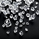 Multi-Size Combination Fake Crystals Acrylic Gems Clear Ice Crushed Rocks Plastic Diamonds Fake Ice Cube Centerpiece for Home Decoration Wedding Display Vase Fillers (570)