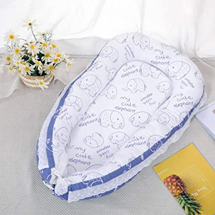 YANGGUANGBAOBEI Portable Baby Crib Breathable Lounger Cotton Waffle Handmade Reducer Lightweight For Easy Travel G