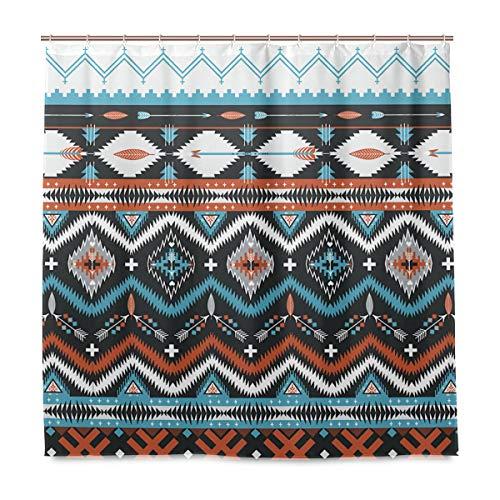 Duschvorhang Indianer Seamless Tribal Muster mit geometrischen Elementen, Polyestergewebe mit waschbar, strapazierfähig, für Badezimmer mit 12 Haken 182,9 x 182,9 cm