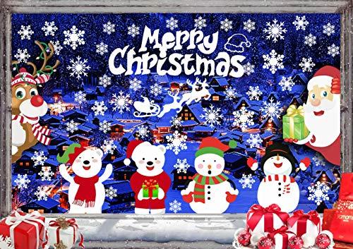 CheChury Addobbi Vetrofanie Natalizie per Finestre Fai da Te Stickers Vetri Alci di Babbo Natale Decorazioni Casa Rimovibile Adesivi Natale per Vetrine
