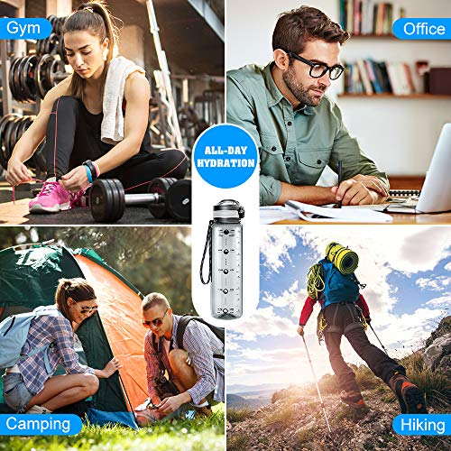STOON Water Bottle with Time Marker, 32oz BPA Free Sports Fruit Infuser Water Bottle - Fast Flow, Removable Strainer…