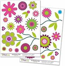 Kiwistar Retro weide set decoratie bloemen weide , muursticker set vel sticker gekleurd DIN A4 DIN A3Totale oppervlakte: c...