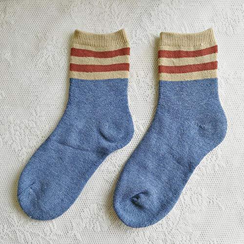 FENGHUAN Calcetines de Mujermás cálidos, Botas térmicas Gruesas, Calcetines para Dormir en el Suelo, para Hombre, Color sólido, Suave, a la Moda, para niña, Talla única, Azul