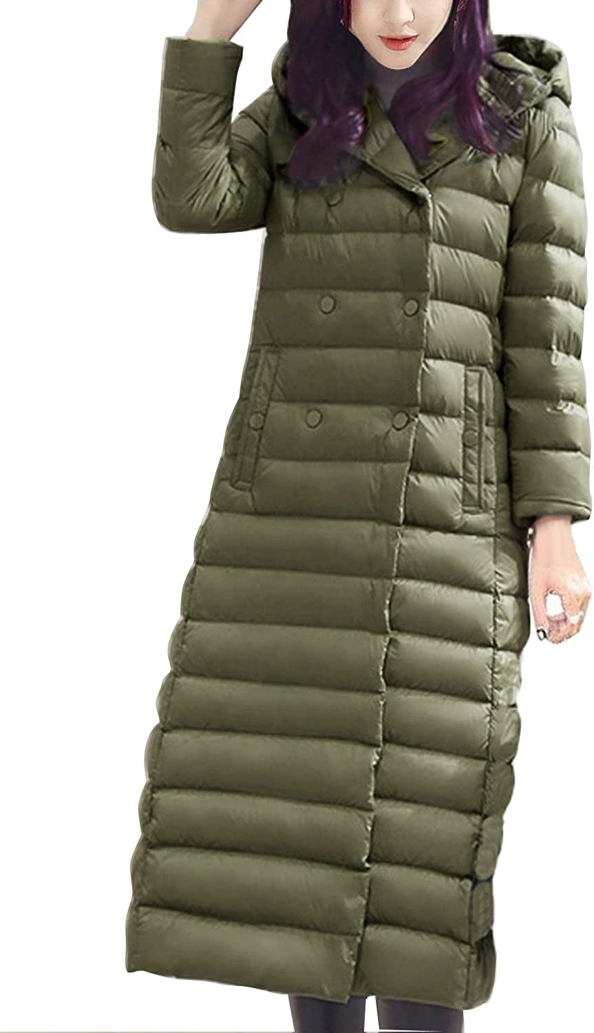 Fashion Womens Slim Double Breasted Long Duck Down Hooded Dress Coat Puff Jacket