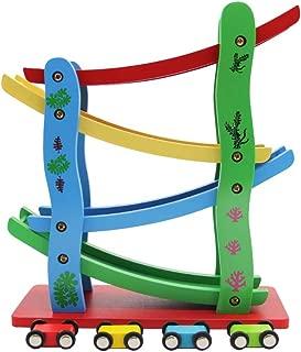 Maggift Ramp Racer,Wooden Ramp Car Toy for Kids, 4 Cars