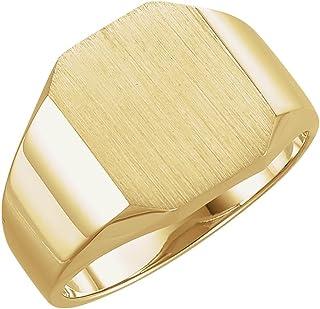 خاتم رجالي من الذهب الأصفر عيار 14 قيراط مقاس 14 × 12 مم من إف بي جويلز مقاس 10