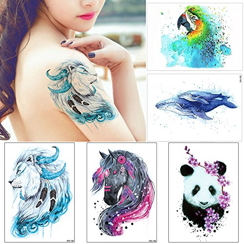 5 Sheets Watercolor Animal Temporary Tattoo Stikcer for Women Men Body Art