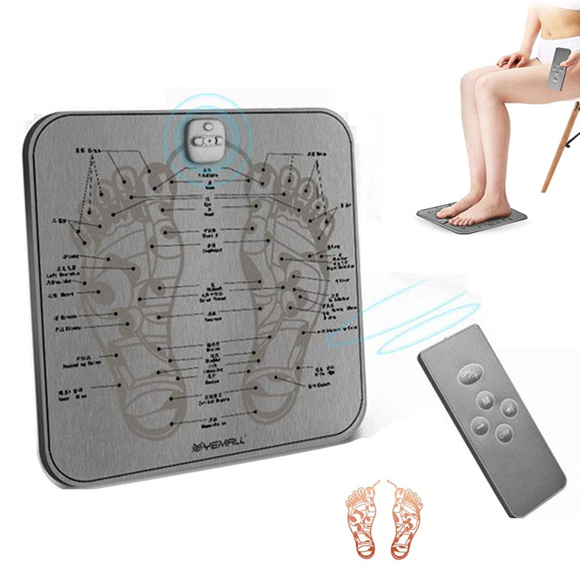 凝縮する思いつく暴露するEMSエレクトリックフットマッサージャーのUSB充電式フット筋トレーナー刺激理学療法バイブレータワイヤレス足マッサージ機