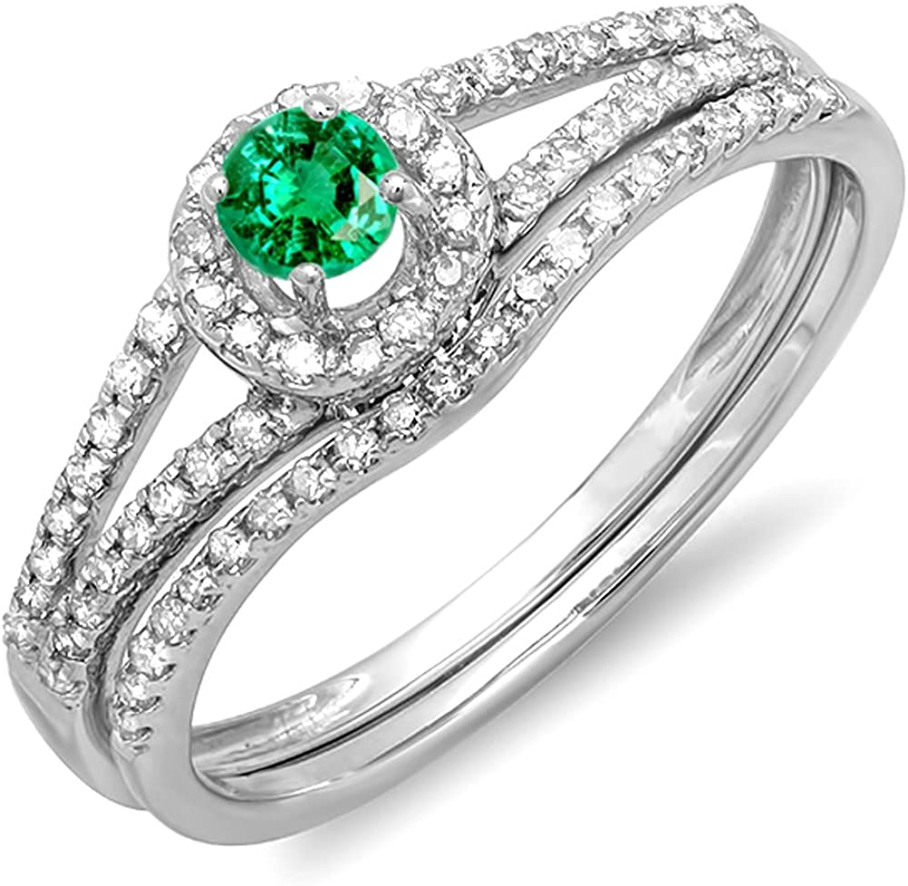 Dazzlingrock Collection 14K Round Emerald And White Diamond Ladies Bridal Halo Engagement Ring With Wedding Band Set, White Gold
