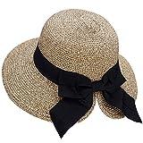 Verabella Floppy Hat Women's Foldable/Packable Straw Beach Sun Hat, Beige/Coffee