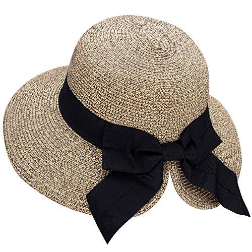 Verabella Sun Hat Womens Wide Brimed Floppy Hat Women's Hats UPF 50+ Foldable/Packable Straw Sun Beach Hat Pool Hat Straw Hat Women for Vacation, Beige/Coffee