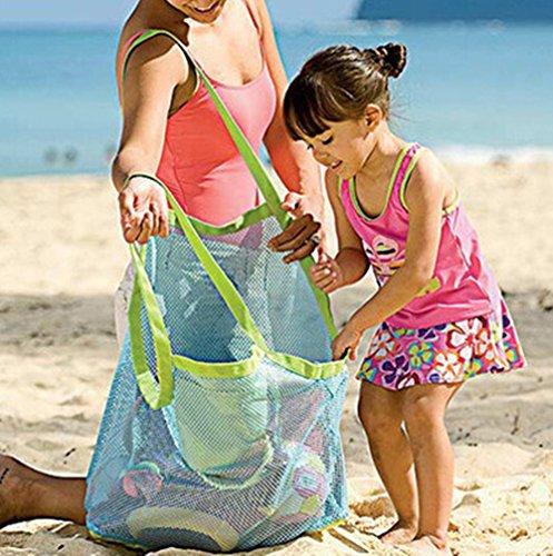 homeyuser Sac de rangement pour jouets - Grand sac de plage pliable en maille - Pour voyage, natation, bateau, coquillages - Bleu
