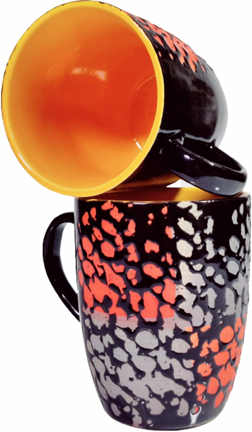 SHIVOW Ceramic Coffee Mugs Max Direct stock discount 57% OFF Set of 320 ML 2 Black Glossy