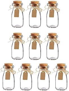 Mini Bouteilles, 10 Pièces Fiole En Verre Transparent, Petite Fiole En Verre, avec Liège, Étiquette Et Corde De Jute, pou...