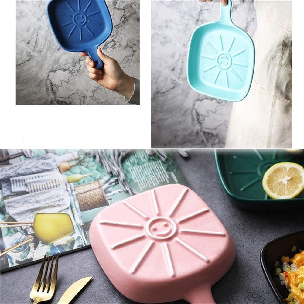 Plat De Cuisson Carré En Grès (16,5 X 22,5 Cm) for La Cuisine À Domicile Design Conception De Couleurs Contrastées cadeau (Couleur : Rose) Bule A