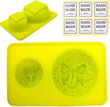 CHAWOORIM Soap Making Tray Molds - 3D Homemade Craft Soap Making Tray Round Shape Handmade Silicone Soap Making Antique Flower Style Molds