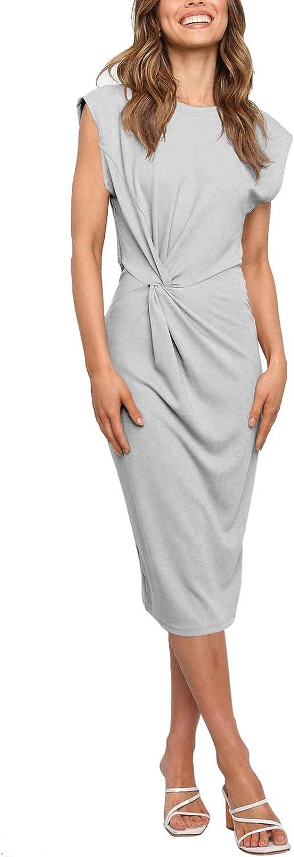 Meenew Women's Sleeveless Midi Dress Twist Front Slim Business Pencil Dress